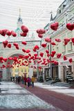 Moscow, Russia - February 11, 2018. Tretyakov Passage decorated with balloons in shape of hearts for Valentine Day Stock Images