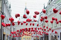 Moscow, Russia - February 11, 2018. Tretyakov Passage decorated with balloons in shape of hearts for Valentine Day Stock Image