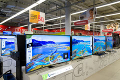 Moscow, Russia - February 02. 2016. TV in Eldorado is large chain stores selling electronics Royalty Free Stock Photography