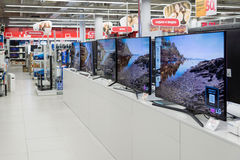 Moscow, Russia - February 02. 2016. TV in Eldorado is large chain stores selling electronics Stock Photography