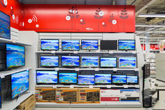Moscow, Russia - February 02. 2016. TV in Eldorado is large chain stores selling electronics Stock Images