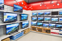 Moscow, Russia - February 02. 2016. TV in Eldorado is large chain stores selling electronics Stock Photo