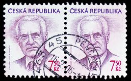 Vaclav Klaus (1941), president, Definitive Issues serie, circa 2005. MOSCOW, RUSSIA - FEBRUARY 10, 2019: Two postage stamps printed in Czech Republic shows royalty free stock photo