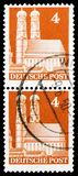 Munich Cathedral, American and British Zone serie, circa 1949. MOSCOW, RUSSIA - FEBRUARY 23, 2019: Two postage stamps printed in Germany, Allied Accupation 1945 stock photo