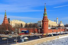 Moscow, Russia - February 14, 2018: View of the Moscow Kremlin from Bolshoy Kamenny bridge stock images