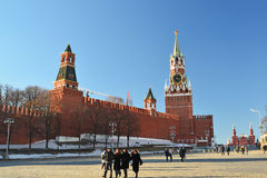 Moscow, Russia -February 18.2016. View of  Kremlin from Vasilyevsky Spusk Royalty Free Stock Photos