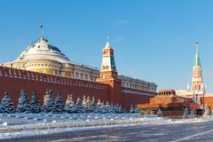Moscow, Russia - February 01, 2018: View of the Senate Palace and Lenin`s Mausoleum in Red square. Moscow in winter Stock Image