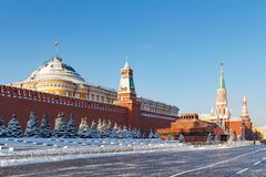 Moscow, Russia - February 01, 2018: View of the Senate Palace and Lenin`s Mausoleum in Red square. Moscow in winter Royalty Free Stock Photo