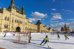 MOSCOW, RUSSIA - FEBRUARY 27, 2016: Winter view on Red Square with GUM and skate rink where was held the children's Royalty Free Stock Images