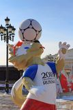 Moscow, Russia - February 14, 2018: Wolf Zabivaka the official mascot of championship FIFA World Cup Russia 2018 on Manezhnaya squ. Are in Moscow Royalty Free Stock Photo