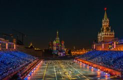 Moscow, Russia - 08.24.2018 - 09.02.2018: Festival Spasskaya Tow Stock Photos