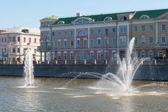 Moscow, Russia - 09.21.2015. Fountains on Moscow river drainage channels Royalty Free Stock Images