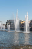 Moscow, Russia - 09.21.2015. Fountains on Moscow river drainage channels Stock Photo