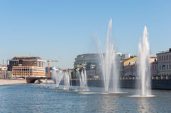 Moscow, Russia - 09.21.2015. Fountains on Moscow river drainage channels Stock Photos