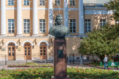 MOSCOW, RUSSIA - 21.09.2015. Frunze monument stands in front of tspecial music school Gnesin. Stock Photography