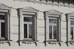 moscow russia Goncharnaya gatahus 7/4, hörn av den Ryumin gränden Fragment av fasaden av den Filevsky herrgården Arkivbilder
