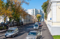 MOSCOW, RUSSIA - 21.09.2015. Great Znamensky Lane - Ancient Street Royalty Free Stock Photo