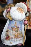 The Jolly Russian Santa with a Painting of Troika and St. Basil. MOSCOW, RUSSIA - The hand-painted Russian Ded Moroz literally Father Frost; similar to Santa Royalty Free Stock Images
