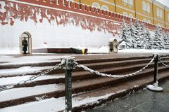 Memory of Generations - Tomb of Unknown Soldier. MOSCOW, RUSSIA - In hot summer or cold winter the soldiers of President Regiment stand on guard at the Tomb of Stock Photography