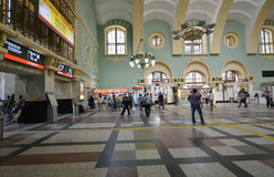MOSCOW, RUSSIA - 17.06.2015. The interior of  Kazansky  railway station. Built in 1862. Royalty Free Stock Photography