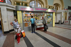 MOSCOW, RUSSIA - 17.06.2015. The interior of  Kazansky  railway station. Built in 1862. Stock Photos