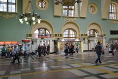 MOSCOW, RUSSIA - 17.06.2015. The interior of  Kazansky  railway station. Built in 1862. Royalty Free Stock Image