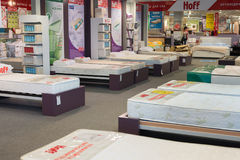 MOSCOW, RUSSIA - 24.09.2015. The interior of  shop Hoff - one of the largest Russian furniture network. Samples mattresses Royalty Free Stock Image