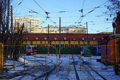 Tram depo in Moscow. MOSCOW, RUSSIA - 09 JANUARY 2018 Apakova tram depo near Oktabrskaua metro station Stock Images