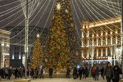 Moscow, Russia -January 2. 2019. Beautiful spruce on Lubyanka Square during festival Journey to Christmas stock image