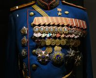 Moscow, Russia - January 23, 2019: Central Armed Forces Museum. Different awards, orders and medals on the russian army stock photography