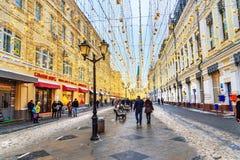 Christmas illumination decoration on Nikolskaya street in Moscow. Russia stock photo