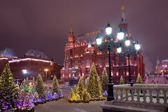 Christmas trees at the Manezhnaya Square Royalty Free Stock Photo