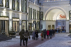 Moscow, Russia - January 17, 2015. The facades of boutiques Stock Photo