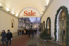 Moscow, Russia - January 17, 2015. The facades of boutiques Royalty Free Stock Photo