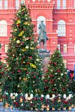 Moscow, Russia - January 9, 2018: Moscow Festival Journey to Christmas . Illuminated New Year trees on Manezhnaya Square. In front of Historical Museum and Stock Images