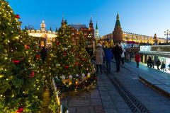 Moscow, Russia - January 10. 2018. The festival is trip to Christmas on Manege Square. Stock Photos