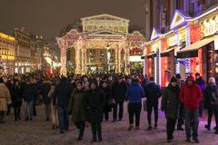 Moscow, Russia -January 2. 2019. holiday walks of Muscovites and guests during Christmas festival royalty free stock image