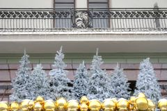 The facade of the Hotel Metropol. MOSCOW, RUSSIA - January 13.2018: Hotel Metropol at the Revolution square in the city centre. Christmas tree Stock Images