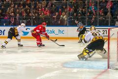 Spartak attacks. MOSCOW, RUSSIA - JANUARY 23, 2019:Kontinental Hockey League KHL 2018/2019 season. Hockey game Spartak vs Severstal Cherepovets on Russia KHL stock photos