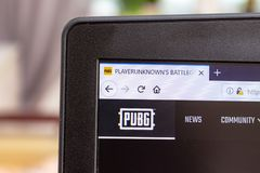 MOSCOW, RUSSIA - JANUARY 08, 2018: Logo PUBG, Playerunknown`s buttlegrounds on a screen of laptop, nline gaming stock images