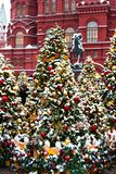 Moscow, Russia - January 5, 2018: Moscow Festival Journey to Christmas . Illuminated New Year trees on Manezhnaya Square. In front of Historical Museum and Stock Photos