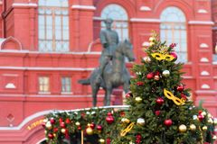 Moscow, Russia - January 9, 2018: Moscow Festival Journey to Christmas . Illuminated New Year trees on Manezhnaya Square. In front of Historical Museum and Royalty Free Stock Photo