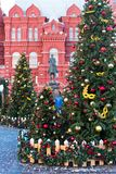 Moscow, Russia - January 9, 2018: Moscow Festival Journey to Christmas . Illuminated New Year trees on Manezhnaya Square. In front of Historical Museum and Royalty Free Stock Images