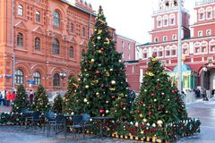 Moscow, Russia - January 9, 2018: Moscow Festival Journey to Christmas . Illuminated New Year trees on Manezhnaya Square. In front of Historical Museum Royalty Free Stock Photo