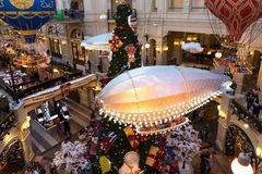 MOSCOW, RUSSIA - JANUARY 9, 2018: New Year`s and Christmas decoration of the GUM in Moscow, Russia. GUM - shopping mall in the center of city Stock Photography