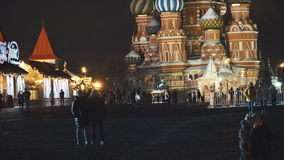 MOSCOW, RUSSIA - January, 2017: Night view of the Saint Basil`s Cathedral on Red Square stock video footage
