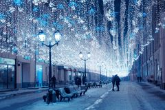 Moscow, Russia, January 17, 2018. Night winter Moscow in the snow. Nikolskaya street decorated for the New year. Unidentified royalty free stock photography