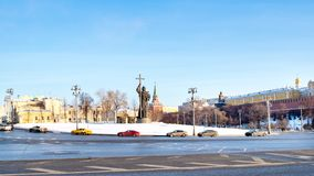Panoramic view of Borovitskaya Square in Moscow. MOSCOW, RUSSIA - JANUARY 25, 2019: panoramic view of Borovitskaya Square with cars and Monument to Vladimir the royalty free stock images