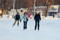 People skating in Sokolniki Park 23.01.2019 stock photo