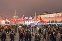 The  Red Square full of people at Christmas time. Moscow, Russia-January 07:The  Red Square full of people at Christmas time on January 07, 2018 in Moscow Royalty Free Stock Photos